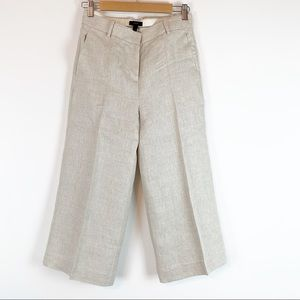 J Crew NWOT Gazebo cropped wide leg linen pants